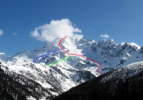 The ski routes seen from Arnoga.
