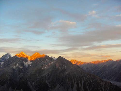 Alpenglow on the Southern Alps