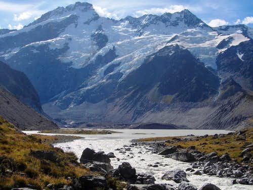 Mueller Glacier Lake, with Mount Sefton and The Footstool