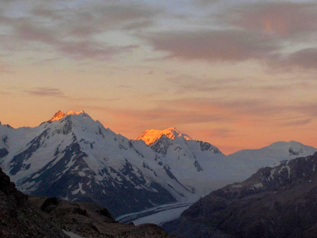 Alpenglow on Mount Elie de Beamont