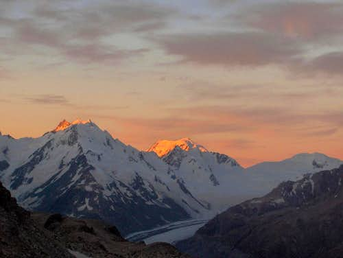 Alpenglow on Mount Elie de Beamont