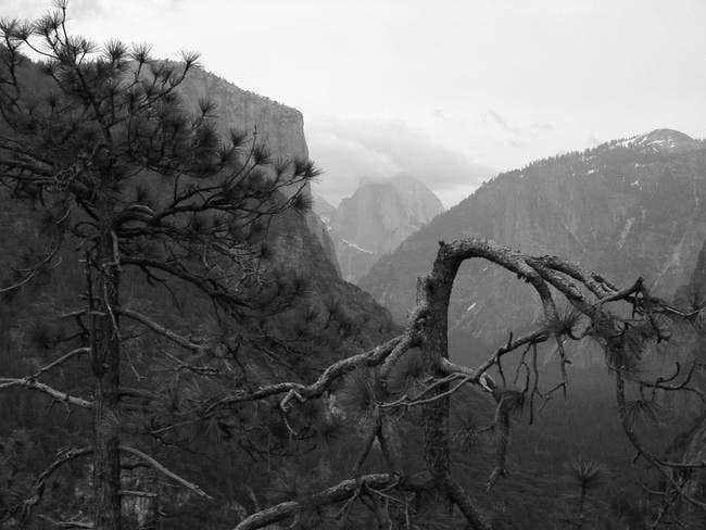 Half Dome from the tunnel.bw