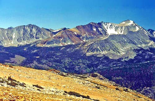Wheeler Peak, Mt. Morgan south above Little Lakes Valley from Red Mtn.