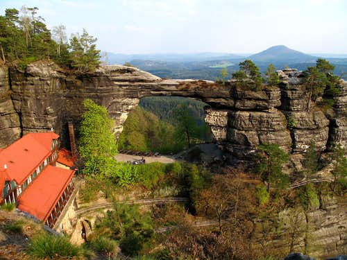 Pravčická brána (Prebischtor) and the view to Northern Bohemia behind it