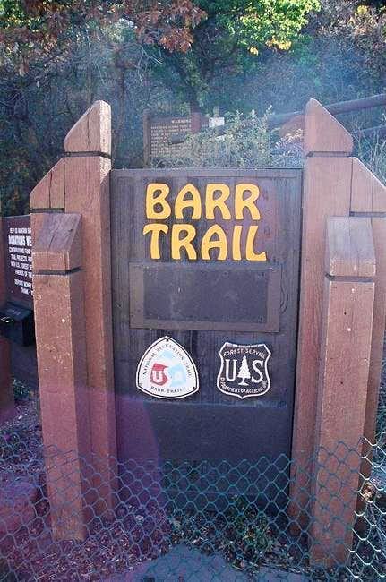 The Barr Trail trailhead sign.