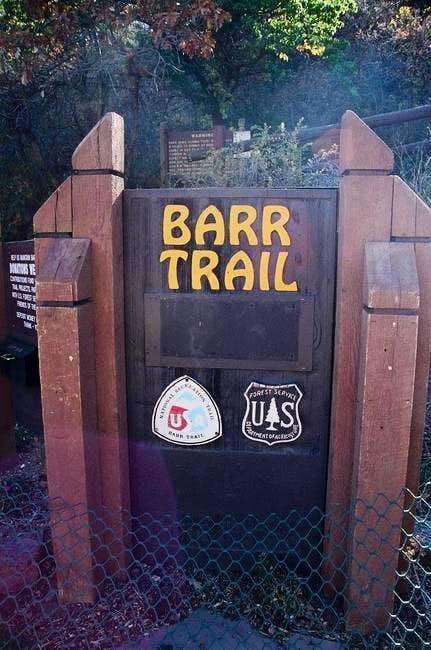 The Barr Trail trailhead sign.