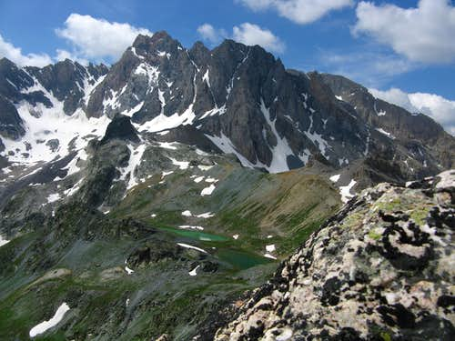 Marinet Lakes from Aiguille Large\' summit