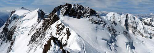 Nordend  (4.609m)  Ski Routes from Monterosa hut
