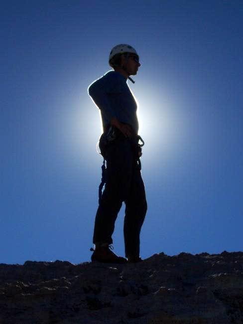 Kris on the summit of Tenaya...