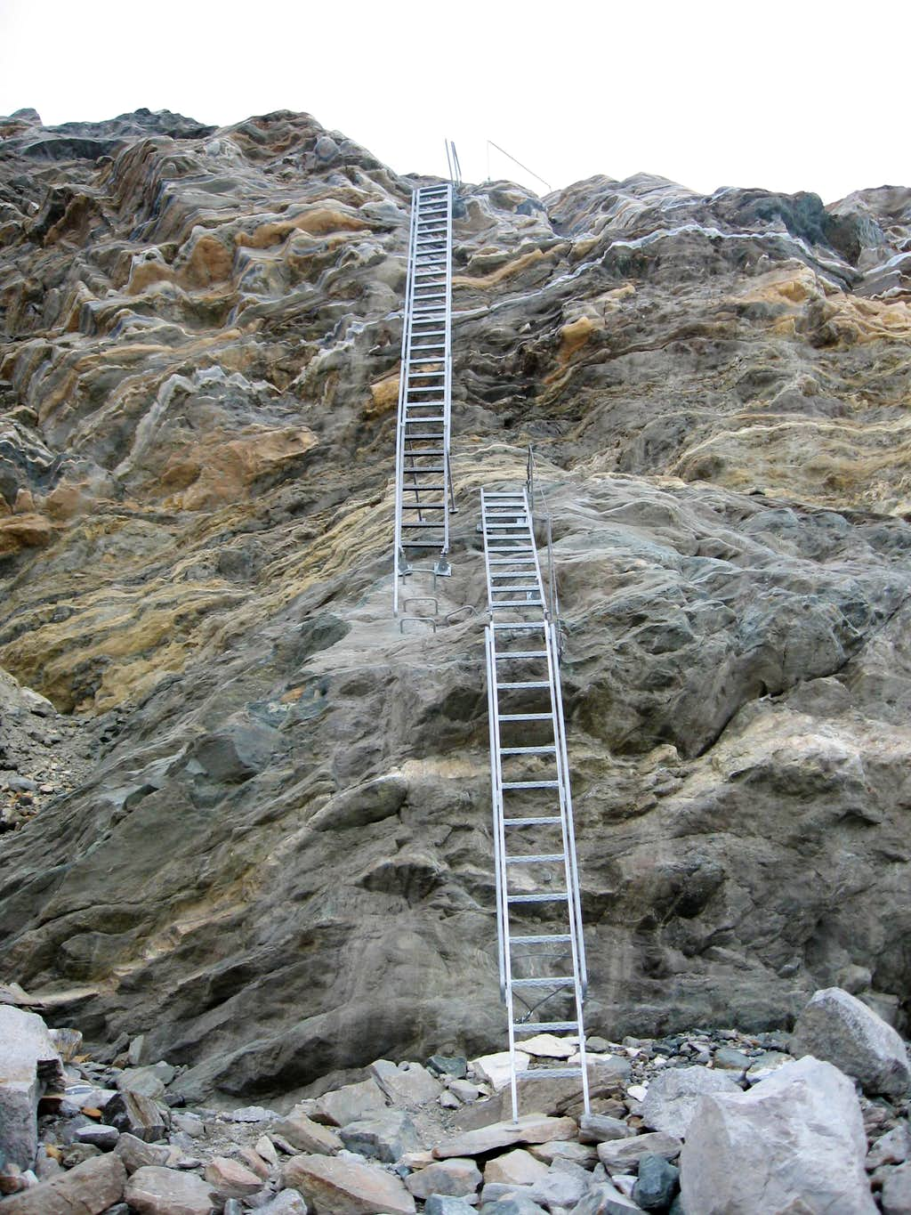 The ladder that takes to the glacier from Rotenboden.