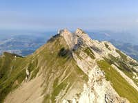 Pilatus, seen from its highest point Tomlishorn (2128m) over to Pilatus-Kulm, Oberhaupt (2106m) and Esel (2118m)