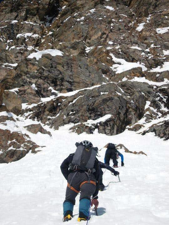 Almost to the base of the upper cliff