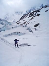 Cautious descent over weakening snowbridges on the Glacier d'Argentère