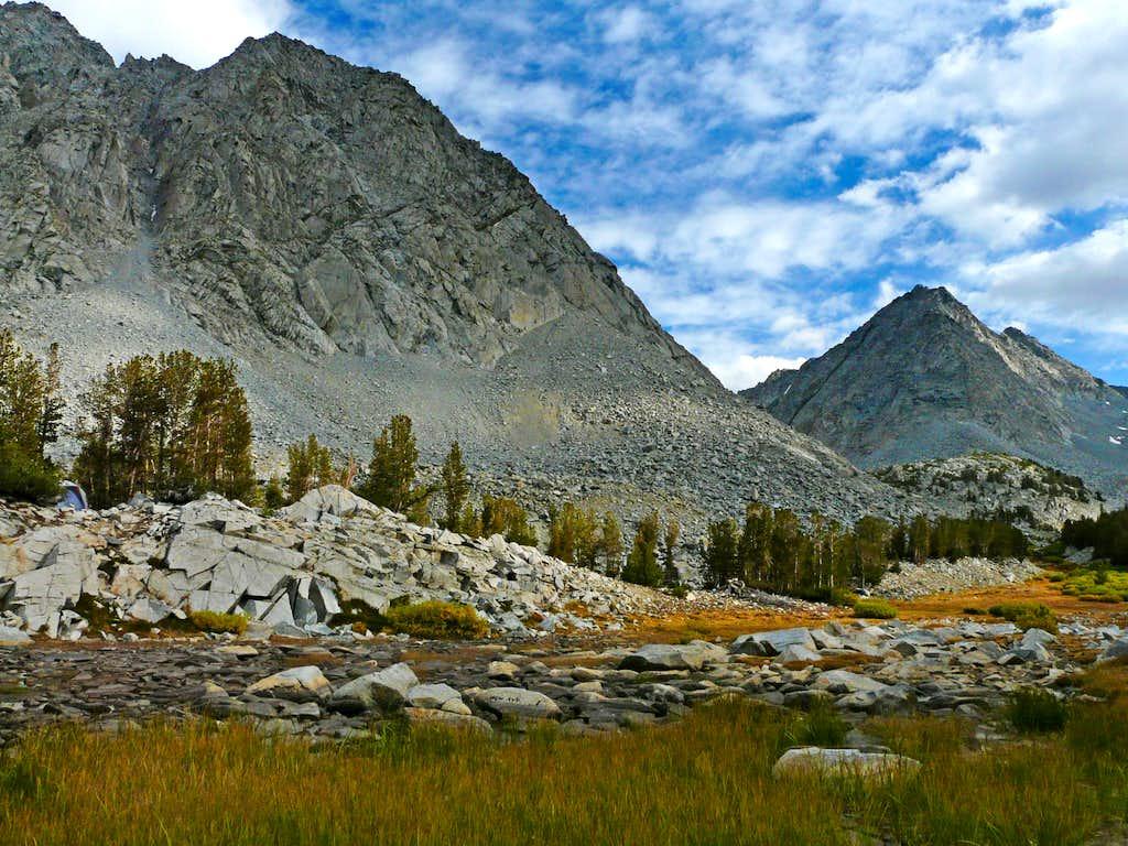 Little Lakes Peak, Morgan Pass and Rosey Finch Peak
