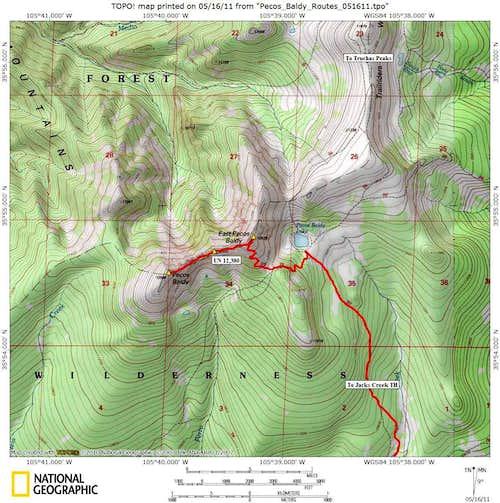 East Pecos Baldy/Pecos Baldy  Map