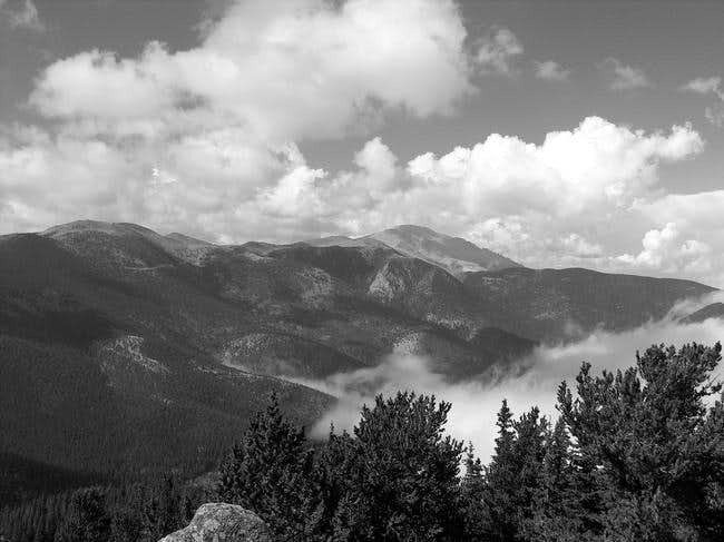 Black and white of Pikes Peak...