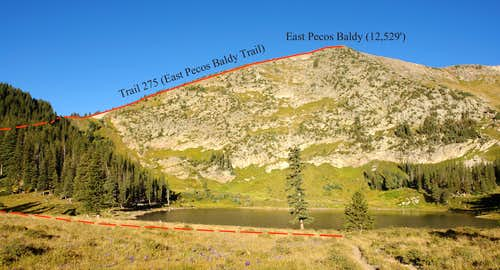 East Pecos Baldy route from Pecos Baldy Lake