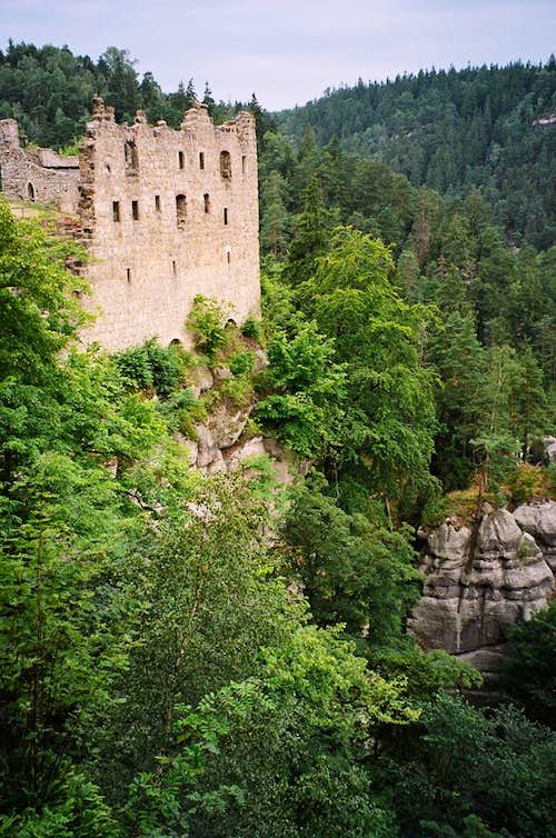 The castle ruins on top of the Oybin mountain in Zittau mountains