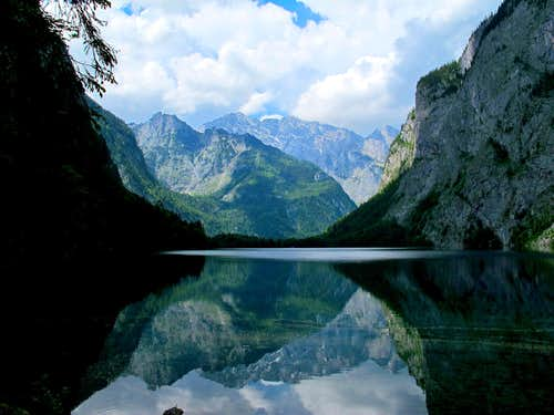The Watzmann (2713m) reflecting itself in the water of Lake Obersee