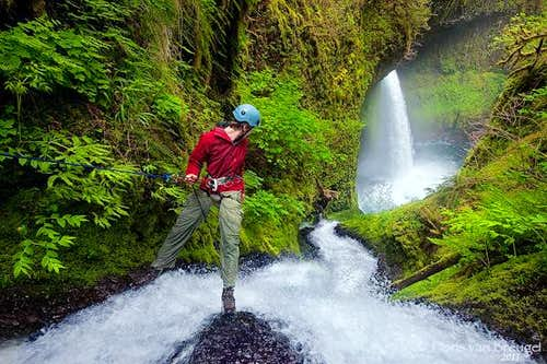 Rappelling in the Columbia River Gorge