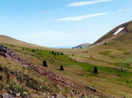 Tundra and meadow terrain on...
