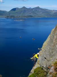 An exciting seascape from Vestpillaren on Presten, Lofoten