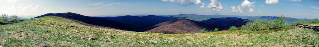 Panorama of Bieszczady in three countries