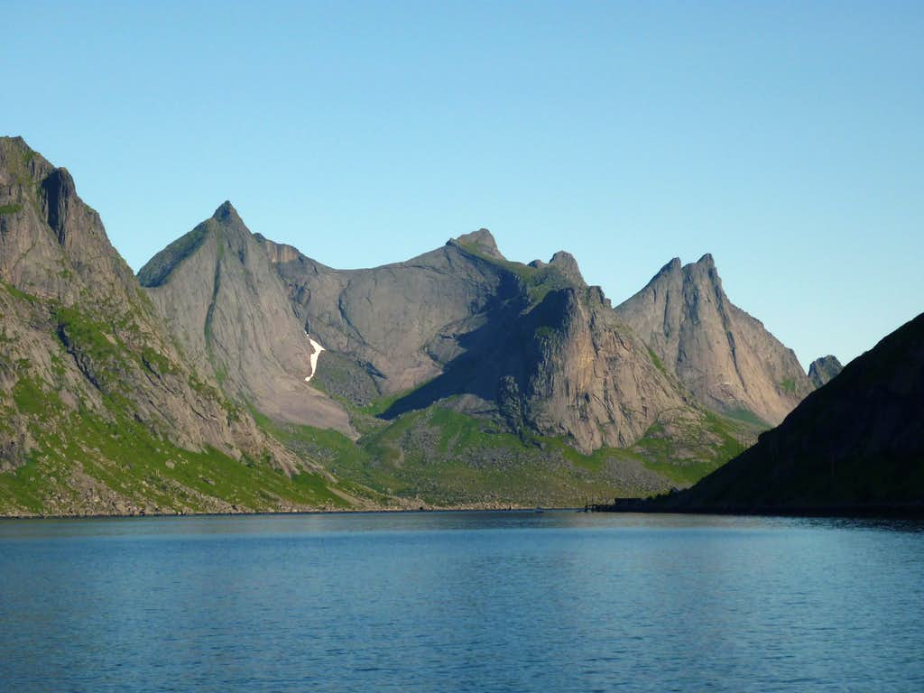 Slabby cliffs in Kierkefjorden, Lofoten