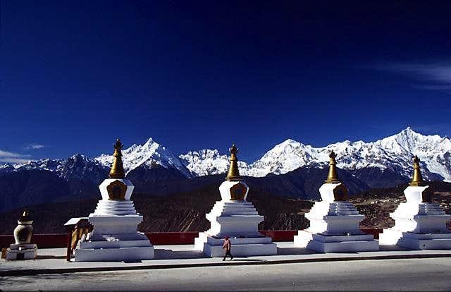 A Tibetan woman walking a...