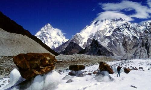 K2 and Broad Peak from Vigne Glacier, Baltoro