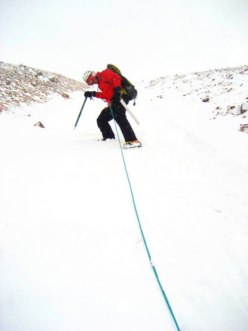 Descending the couloir