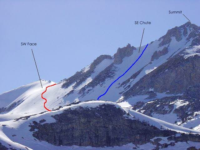 SW Face Route (Red) and SE...