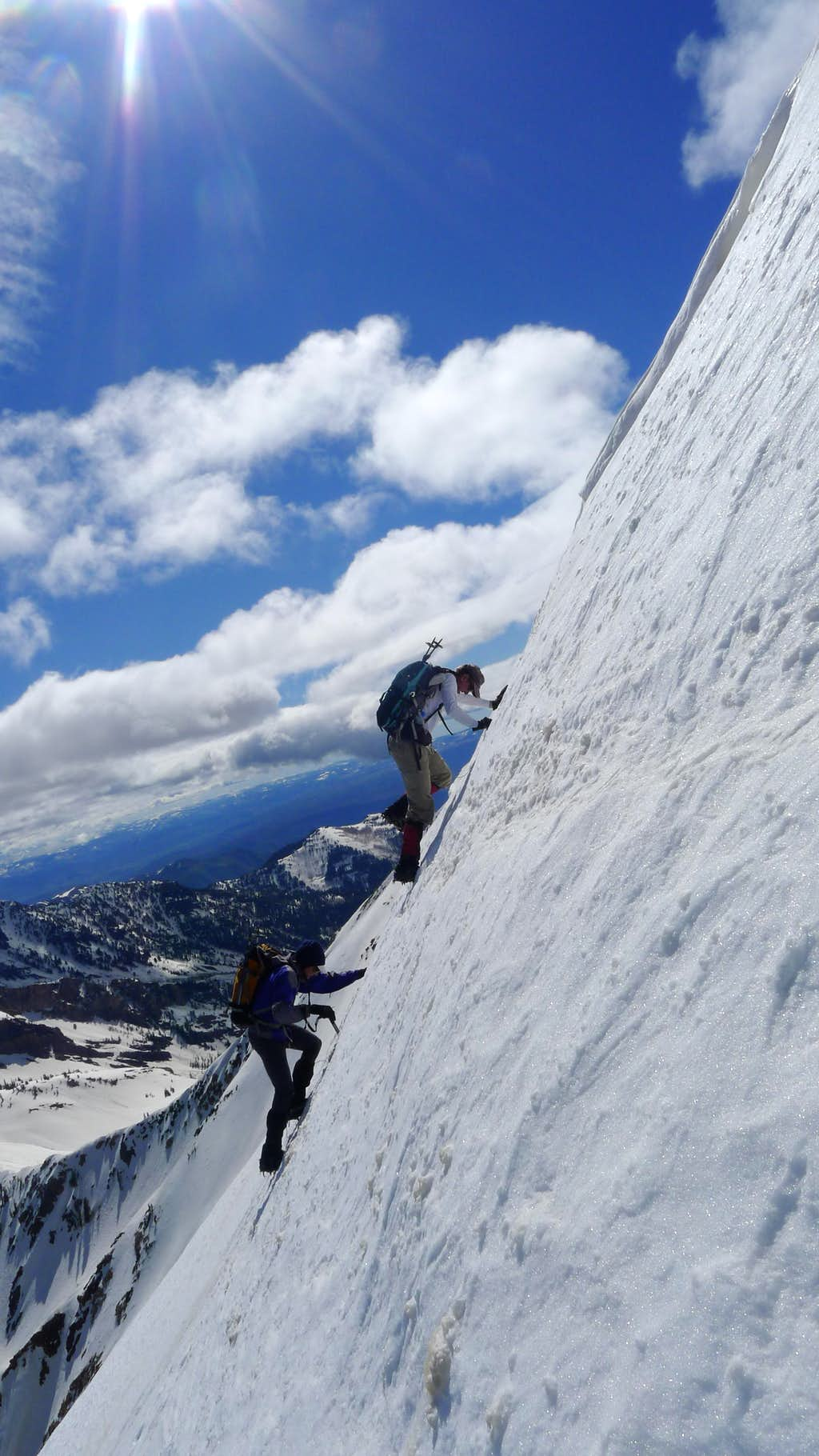 The crest of the Pipeline Couloir