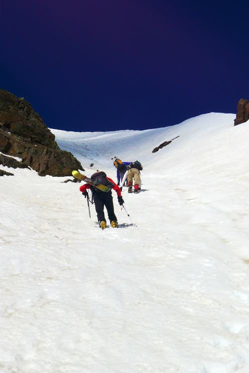 The Pipeline Couloir to AF Twin (west)
