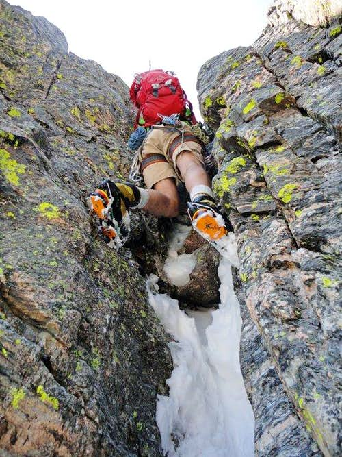 Summer\'s photo of Micah pulling the first crux in shorts