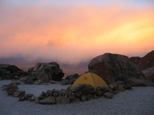 Sunset at Camp I along La Azufrera Route