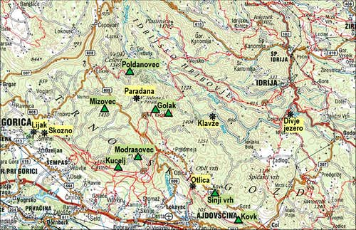 Trnovski gozd map