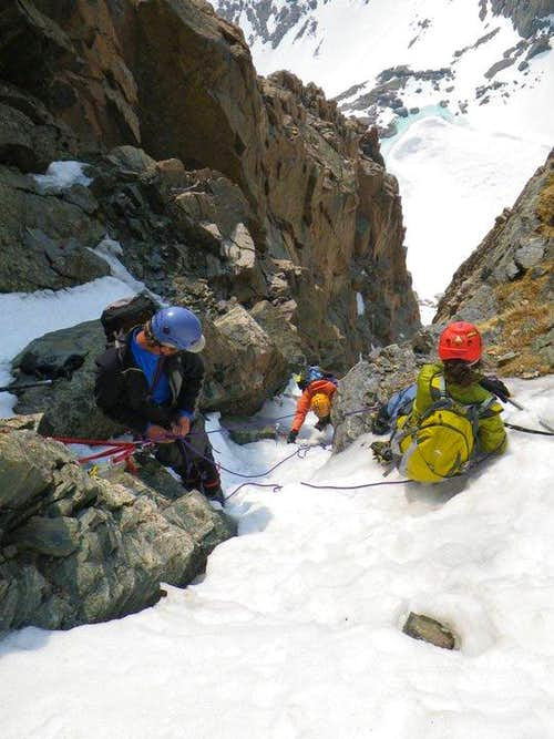 Belaying the second ice crux