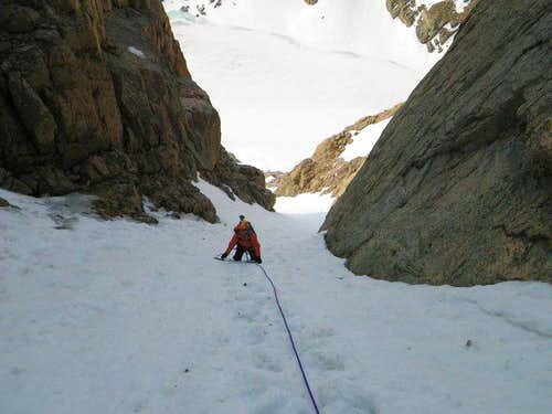 Heading up the lower couloir