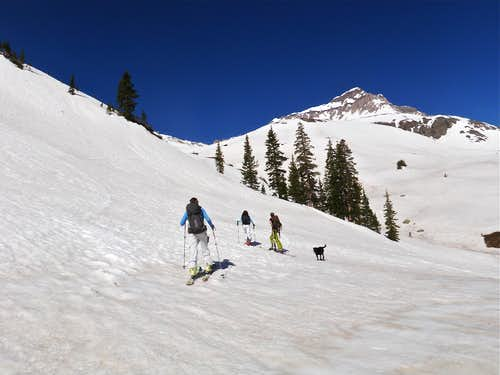 Skinning up towards Gilpin Peak