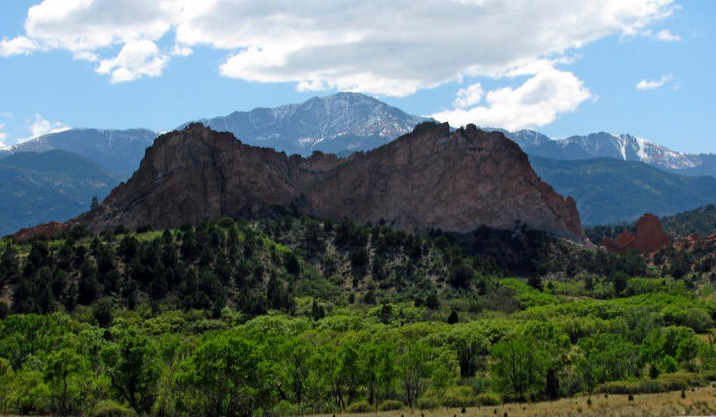 Pikes Peak over Garden of the Gods