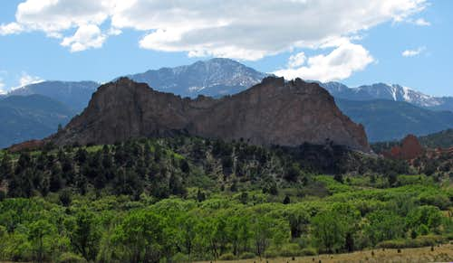 Pikes Peak over Garden of the Gods