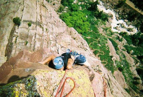 Naked Edge (5.11b R) Eldorado Canyon, CO