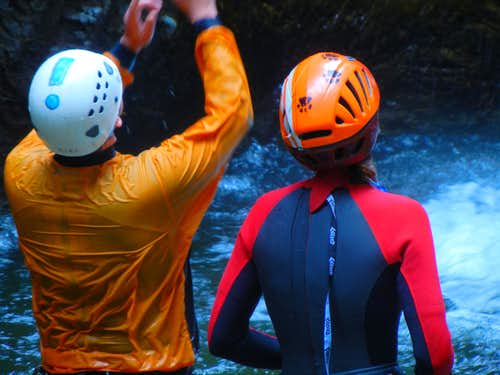 Canyoneers in Waist Deep Water