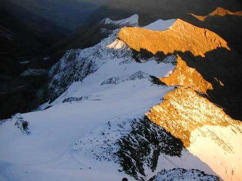 Last light from the summit of...