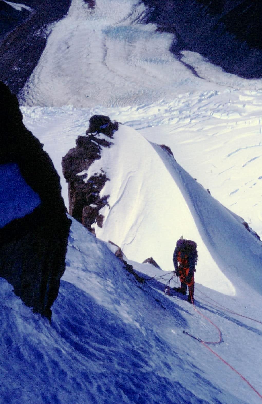 Belay along Luce de Leche, Cerro Nato (Patagonia)