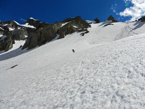 Skiing down Northwest Couloir