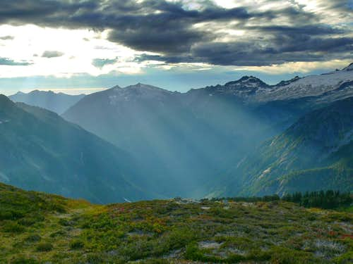 Cascade Valley with Beams of Light