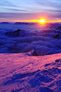 Winter sunset from Col des Grands Montets