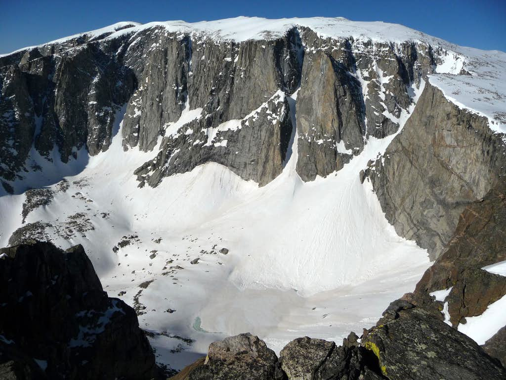 Chill Lakes Cirque from base of Darton proper, June 22, 2011.  What's In The Box center, Cadillac Couloir right